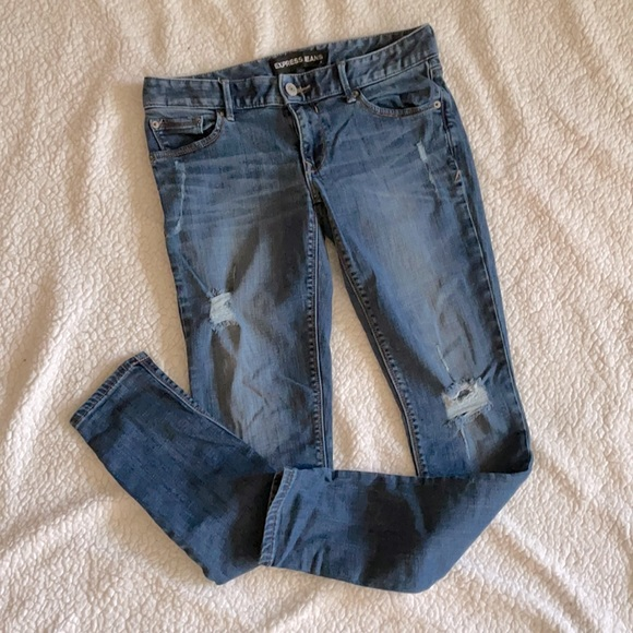 Express distressed skinny blue jeans